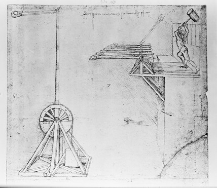 Sketch of trebuchets.
