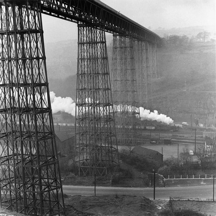 Coal train under the Crumlin Viaduct, Wales, March 1961.