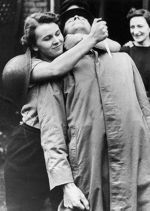 Women Home Guard learning unarmed combat, October 1942.