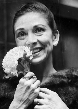 Margot Fonteyn with a white chrysanthemum, November 1968.