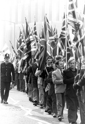 National Front demonstration, Bradford, April 1975.