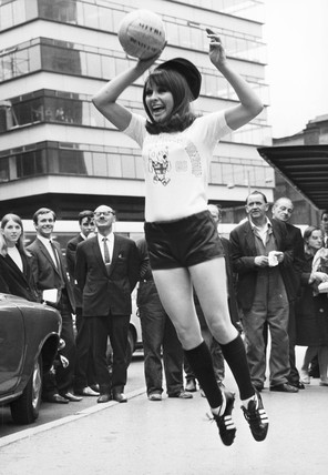 Anne Worrall in World Cup T-shirt, Liverpool, July 1966.