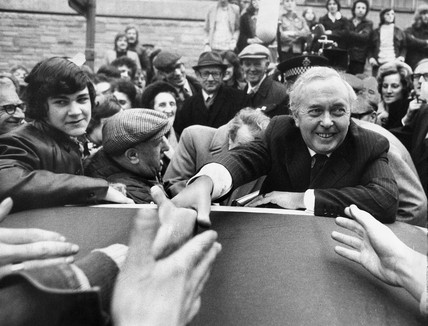Harold Wilson on a walkabout in Huddersfield, February 1974.