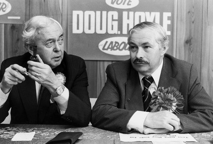 Harold Wilson and Douglas Hoyle, by-election campaign, July 1981.