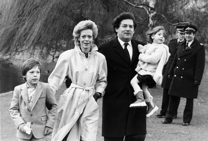 Chancellor Nigel Lawson and family, St James' Park, London, March 1985.