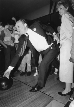 Neil and Glenys Kinnock ten-pin bowling, 1987.