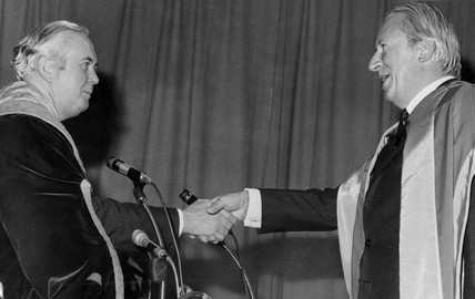 Harold Wilson and Edward Heath shake hands, Bradford University, 1971.