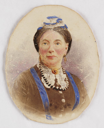 Hand-coloured portrait photograph, c 1860.