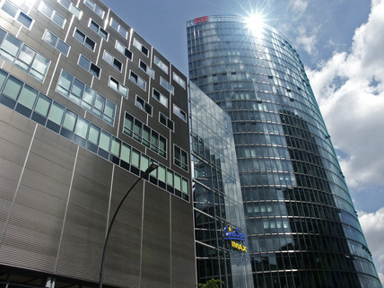 Deutsche Bahn building in the sunshine, Berlin, 2004
