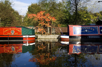 Barges on the canal at Skipton, North Yorkshire, Autumn 2005.