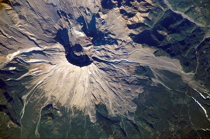 Mount St Helens from space, 2002.