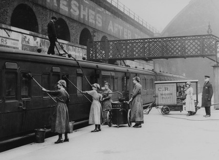 Female carriage cleaners, 1918.