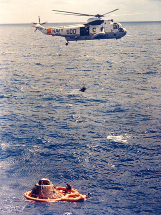 Apollo 14 recovery, Pacific Ocean, 9 February 1971.