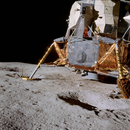 Apollo 14 lunar module on the Moon, February 1971.