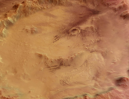 Close-up view of Crater Galle on Mars, c 2004-2006.