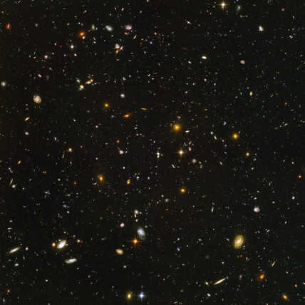 Hubble ultra deep field view of galaxies, 2003-2004.