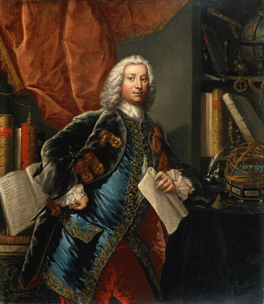 Portrait of a gentleman in his study with scientific instruments, c 1750.