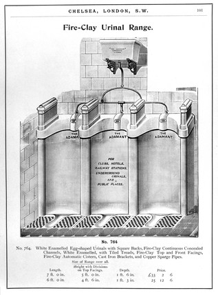 Fire-clay Urinal Range, 1902. Engraving fro