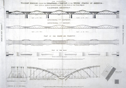 Plans of the wooden bridge acros the Delaware at Trenton, New Jersey, 1819.