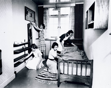 Schoolgirls cleaning, 5 October 1953.