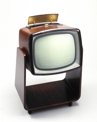 Murphy television receiver on castered trolley, model V310C, 1958.