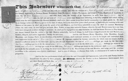 Indenture of apprenticeship to the firm of Maudslay Sons and Field, 1836.