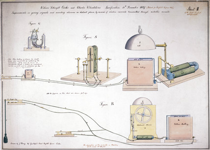 Cooke and Wheatstone's first telecommunication device, 1837.