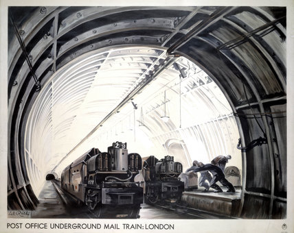 'Post Office Underground Mail Train: London', GPO poster, c 1950s.