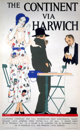'The Continent via Harwich', LNER poster, c 1930s