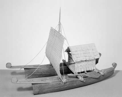 Model of an ancient Polynesiam double saili