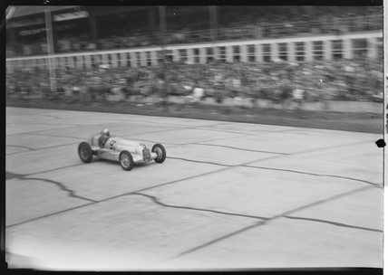 Luigi Fagioli in a Mercedes-Benz racing car, Nurburgring, 1930s.