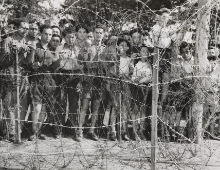 Jewish men and boys at Poppendorf Camp, Austria, 1947,