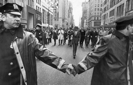 Robert Kennedy walking down Fifth Avenue, New York, March 1968.