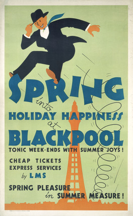 'Spring into Hoilday Happiness at Blackpool', LMS poster, 1923-1947.
