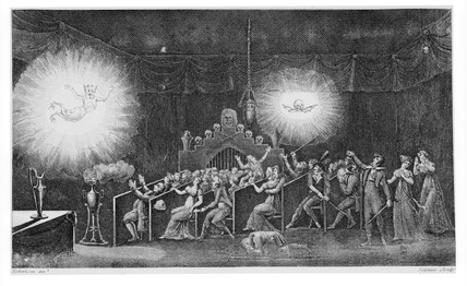 Magic lantern show. Illustration of Roberts