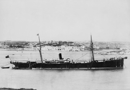 Cable Ship 'John Pender' lying off the coas