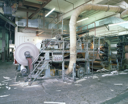 Paper-making machine, Limehouse Board Mills, London, late 1980s.