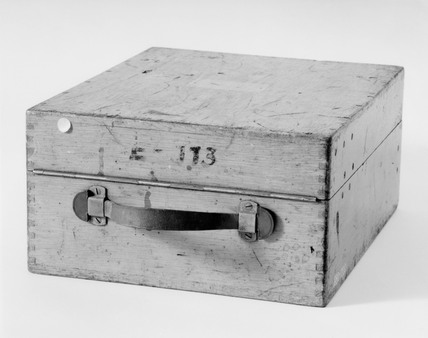 Wooden carrying case for 'Enigma' cypher machine, c 1930s.