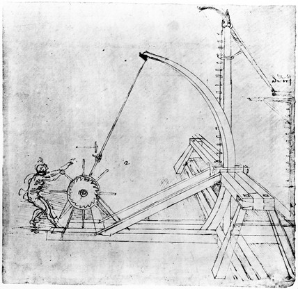 Technical drawing of siege catapult by Leonardo da Vinci, 1470-1520.