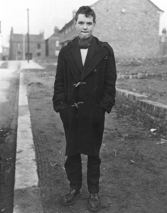 Teenager in duffle coat, 5 March 1956.