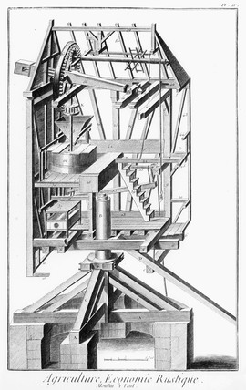 Perspective sectional view of a post-windmill, c 1762.
