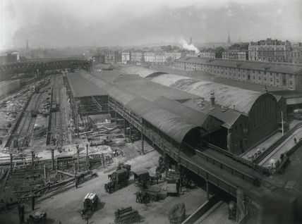 Demolition of the old goods depot at Paddington Station, London, July 1925.