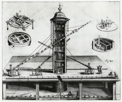 Long aerial telescope fixed to a tower, 1673.