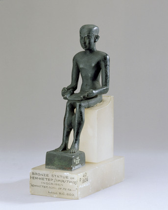 Bronze seated figurine of the young Imhotep, 900 BC - 300 BC.