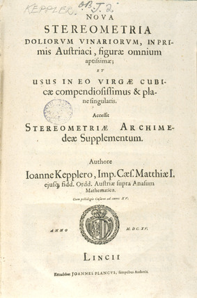 Title page of 'Nova stereometria', on integral calculus, 1615.
