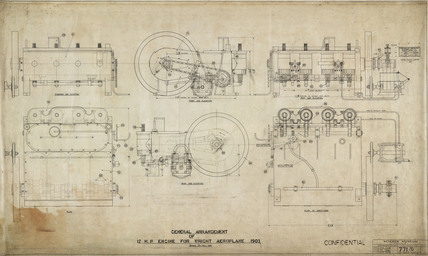 General arrangement of 12 HP engine of Wright 'Flyer', 1903.