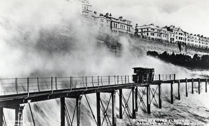 'Rough Sea over Electric Railway, Kemptown, Brighton', late 19th century.