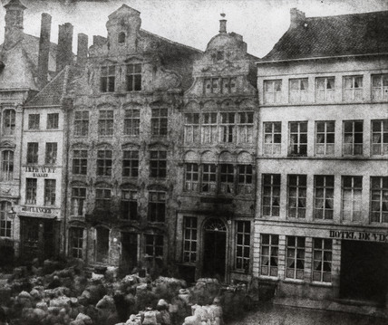 Selling wool in a market square, Malines, Belgium, c 1840s.