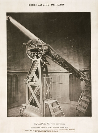 Equatorial refracting telescope, Paris Observatory, France, 1884.