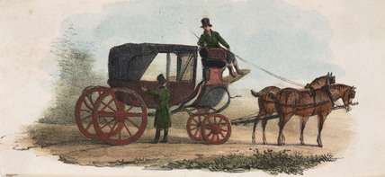 Horse-drawn carriage, early 19th century.